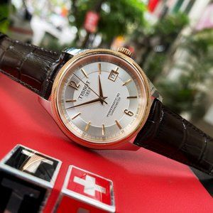 Tissot Luxury Rose Gold PVD Leather Watch